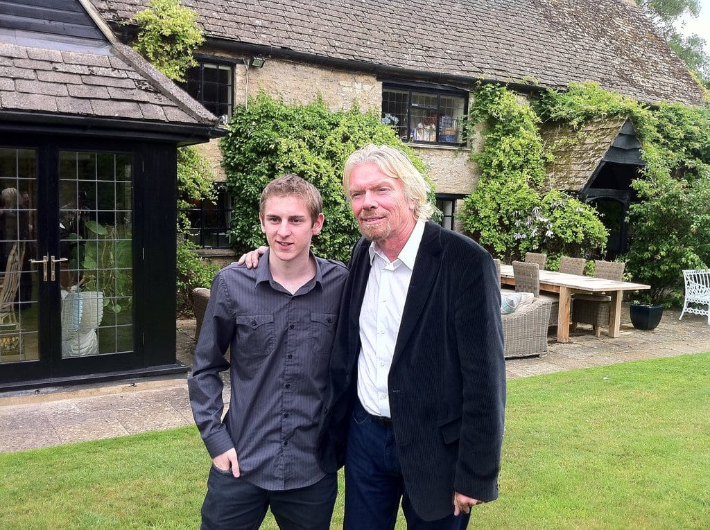 Matt Lovett and Richard Branson at Richard's house